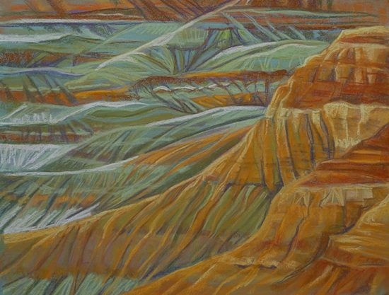 A pastel picture of a desert canyon
