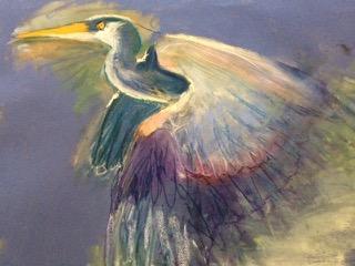 Egret, pastel on paper, Cynthia Lester