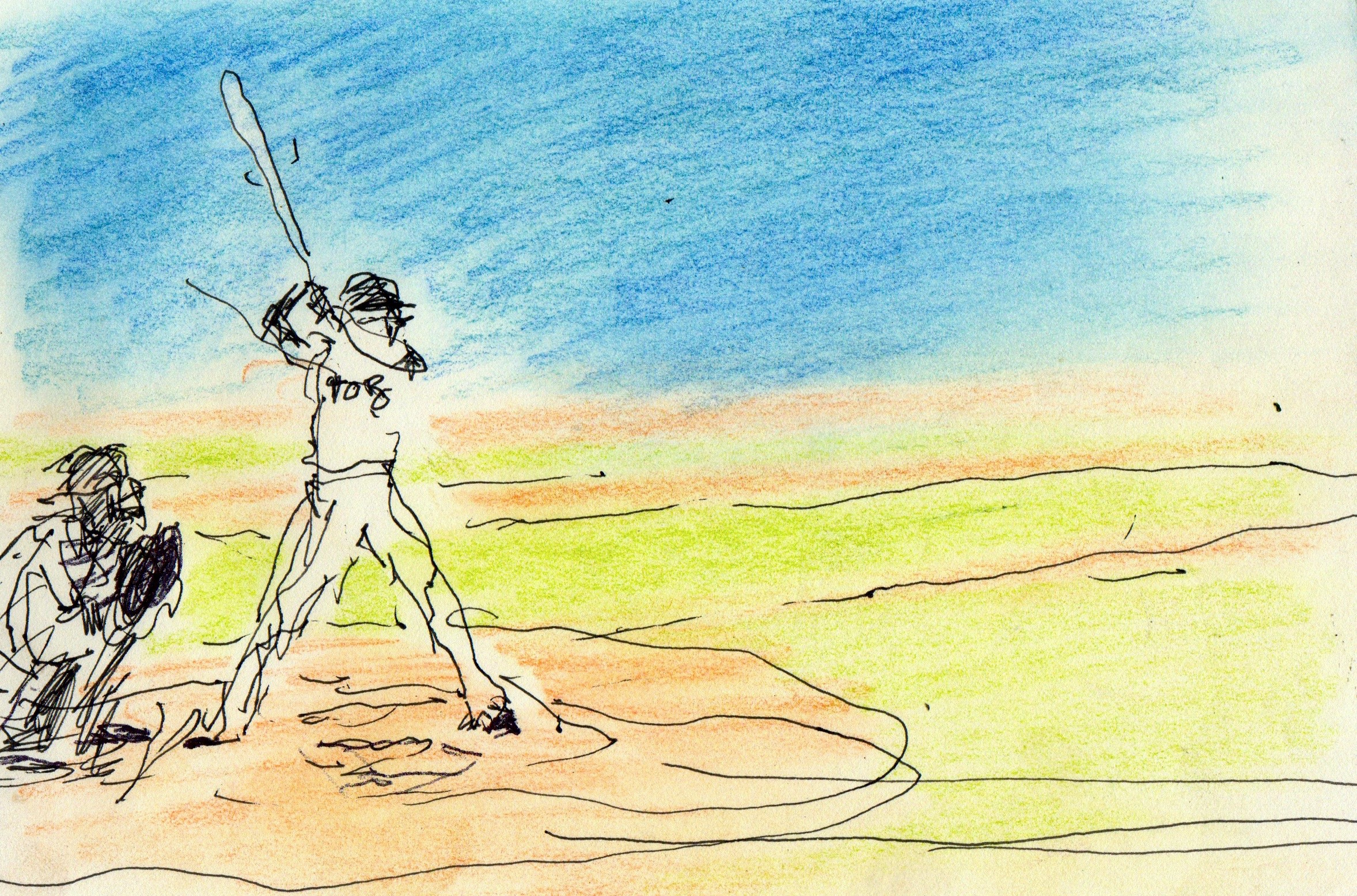 Andy Rush's color and ink sketch of baseball